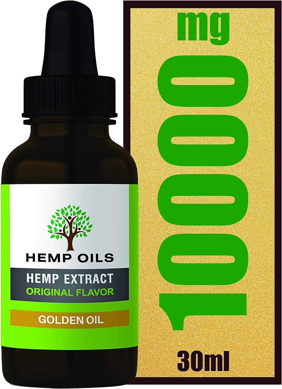 Botella grande de 30 ml – 30% 10000 mg (dorado) Extracto de cáñamo – 3 meses de suministro – Aceite de cáñamo de alta resistencia – Extracción de CO2