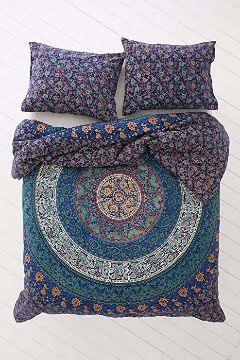 Indian Handmade Cotton Duvet Doona Quilt Cover With 2 Pillow Covers Bedding Set