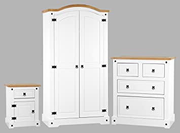 Corona White Bedroom Furniture Set Wardrobe Bedside Chest