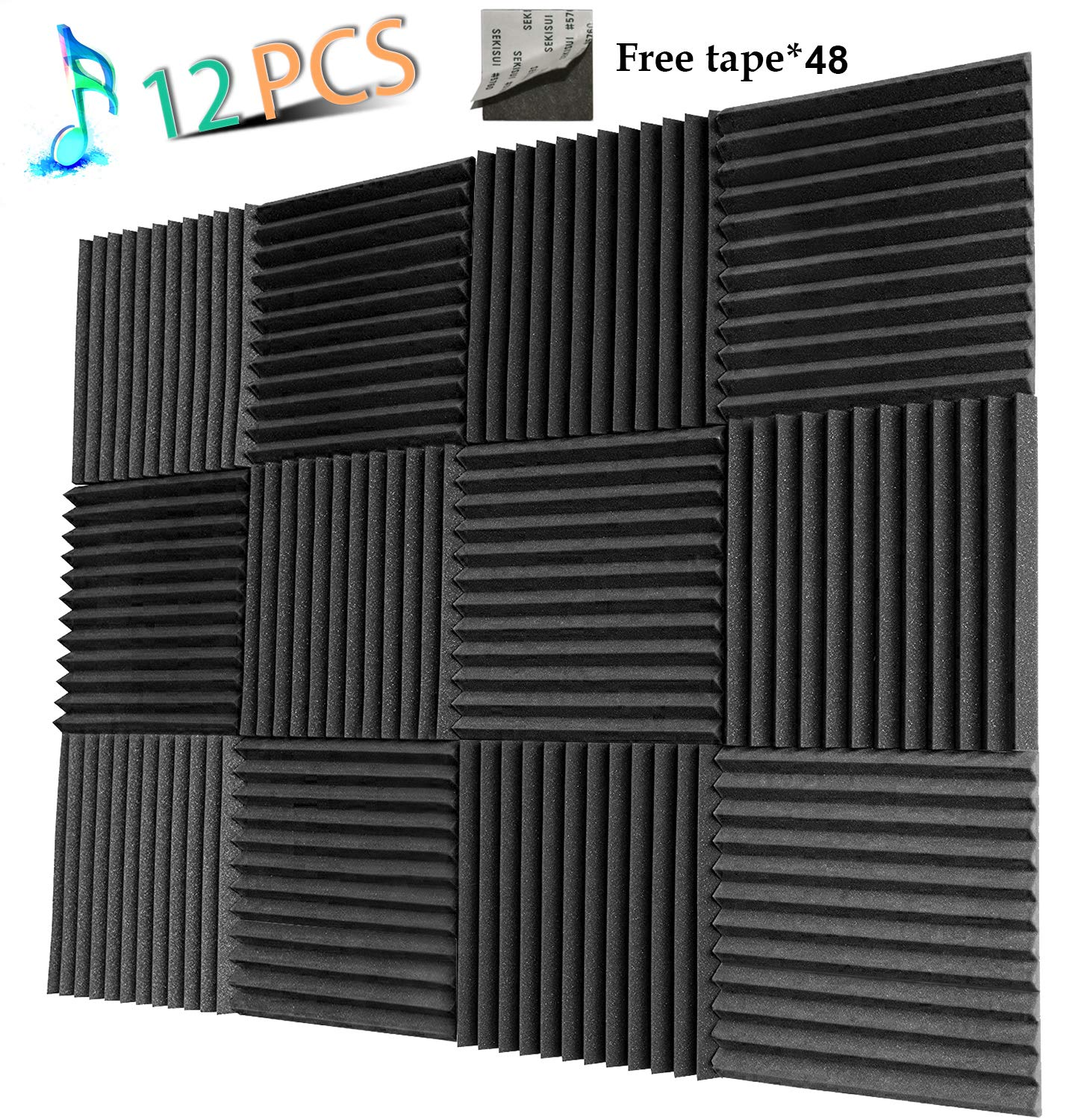 YWSHUF Acoustic Panels Studio Foam Sound Proof Panels Nosie Dampening Foam Studio Music Equipment Acoustical Treatments Foam 12 Pack-12''12''1'' YouWei