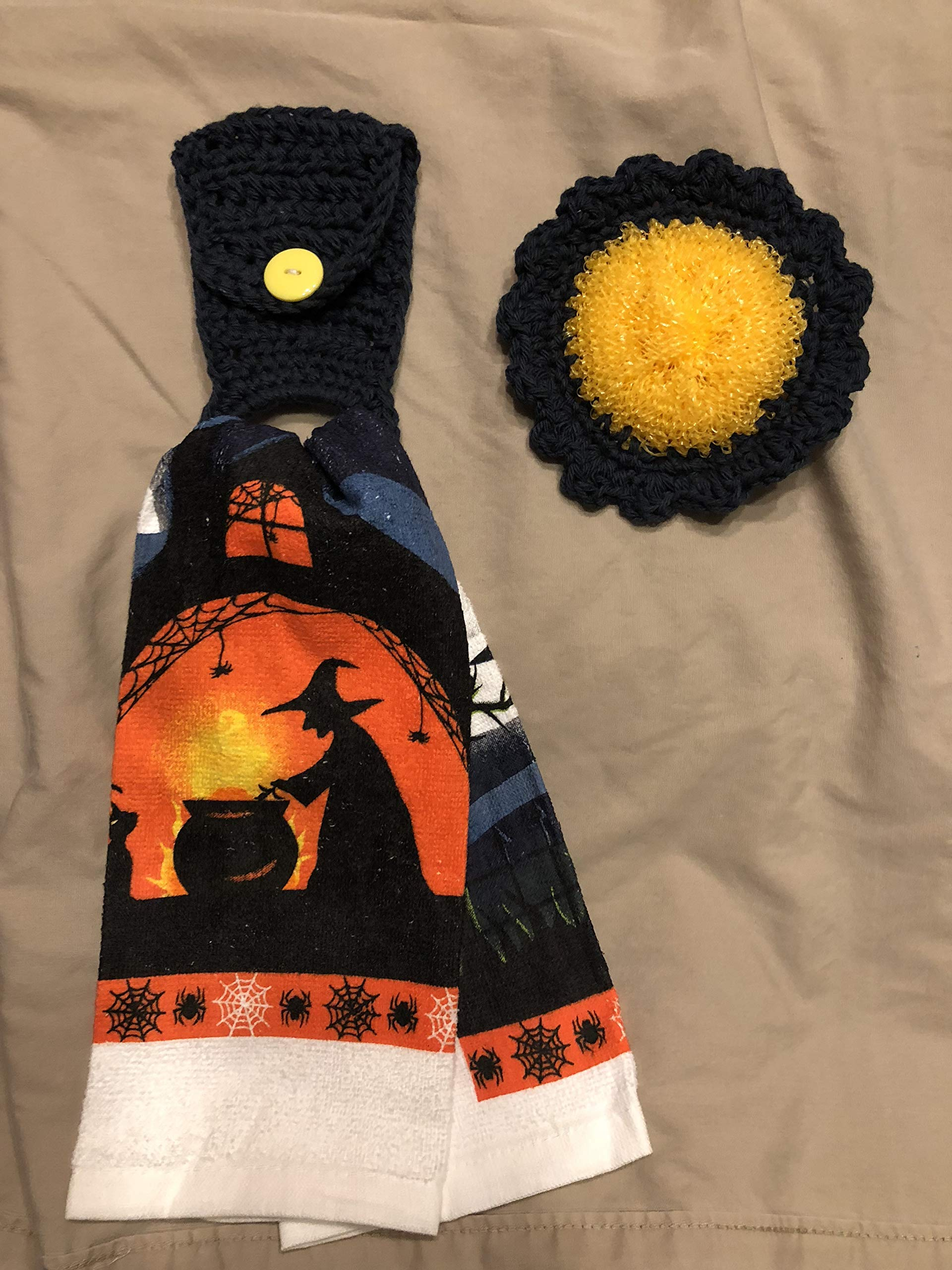 Free ship to USA - 3 piece set - Halloween Witch's Brew - 1 CROCHET Plastic Scrubber, Towel holder & KITCHEN hand TOWEL light weight terry cloth - Black 100% cotton yarn