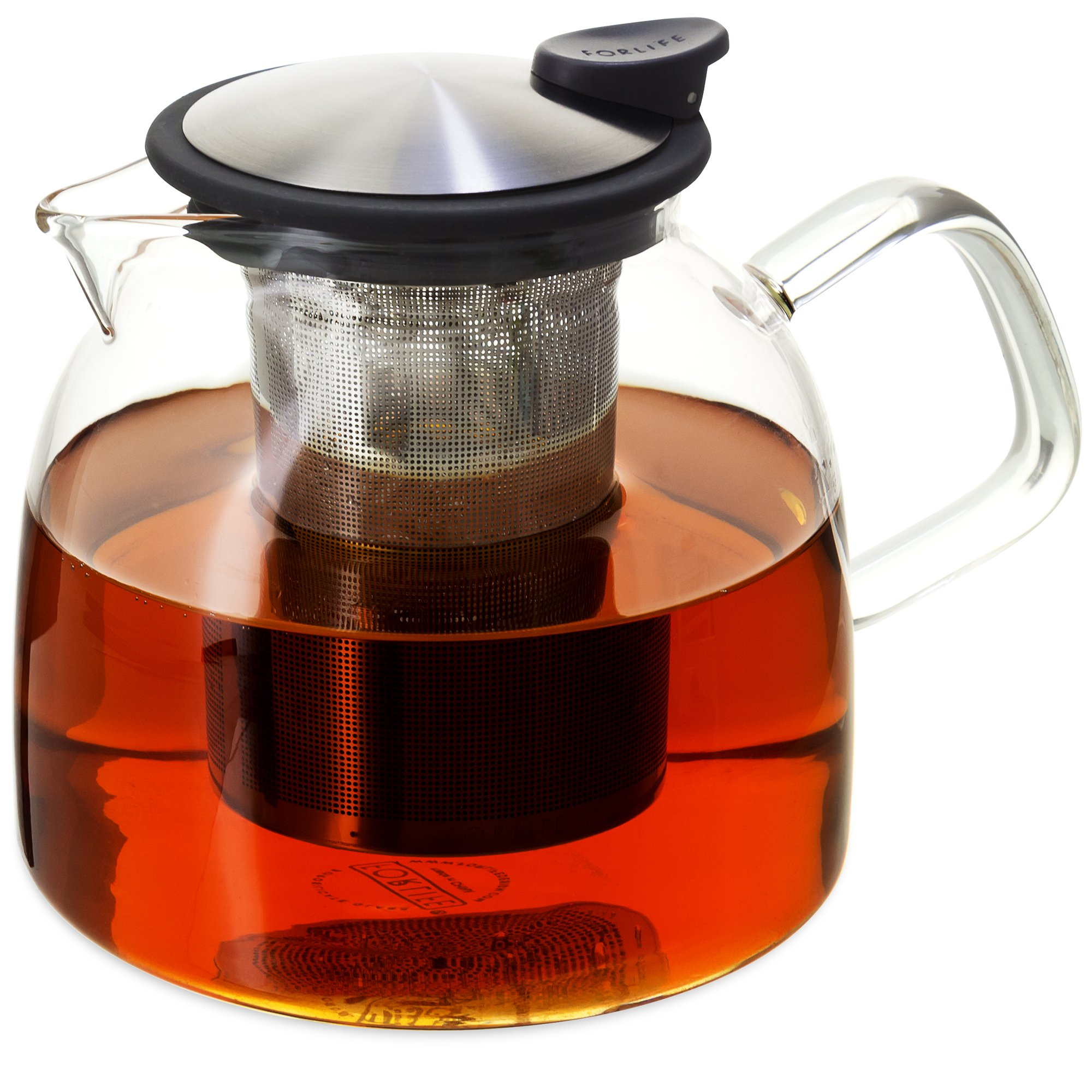 Forlife Bell Glass Teapot with Basket Infuser, 43-Ounce/1280ml, Black Graphite