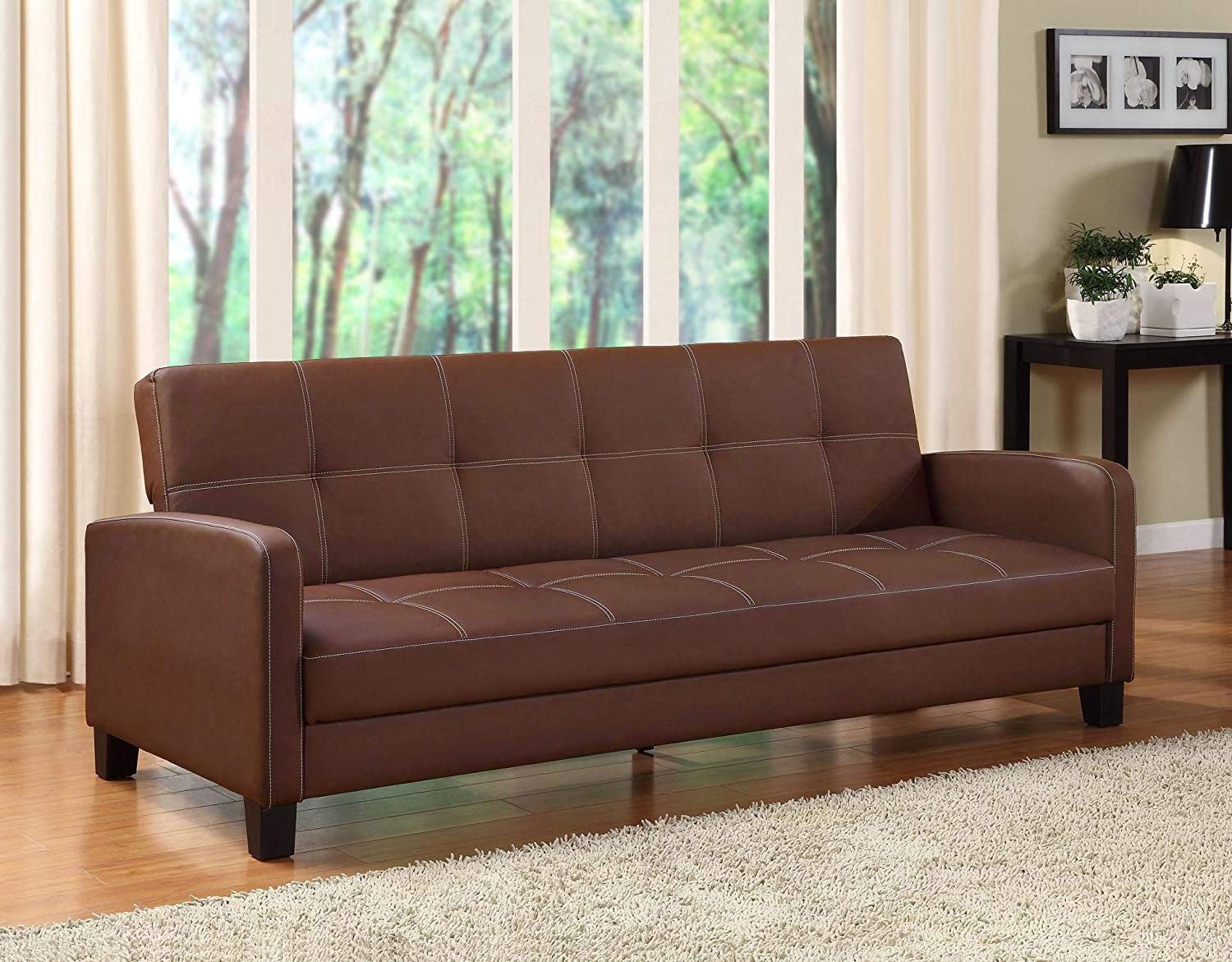 Swell Dhp Delaney Sofa Sleeper In Rich Faux Leather Multifunctional Brown Machost Co Dining Chair Design Ideas Machostcouk