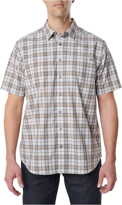 5.11 Tactical Men's Poly-Cotton Hunter Plaid Short Sleeve Shirt, Style 71374