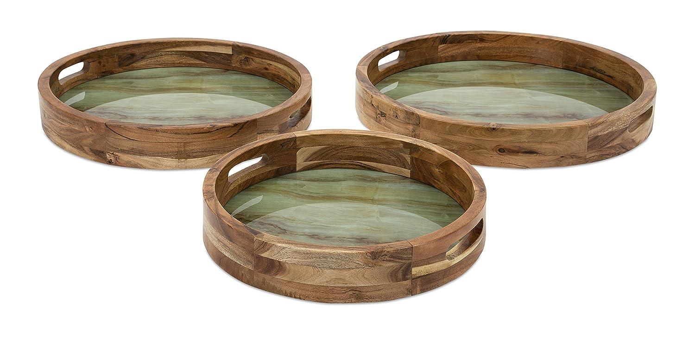 Sintética mármol y madera decorativa bandejas - juego de 3: Amazon.es: Hogar