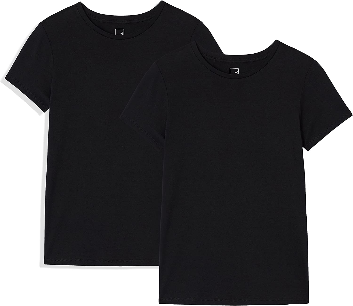 Marca Amazon - MERAKI 2 Pack Crew Neck, Camiseta con Cuello Redondo Mujer, Lot de 2