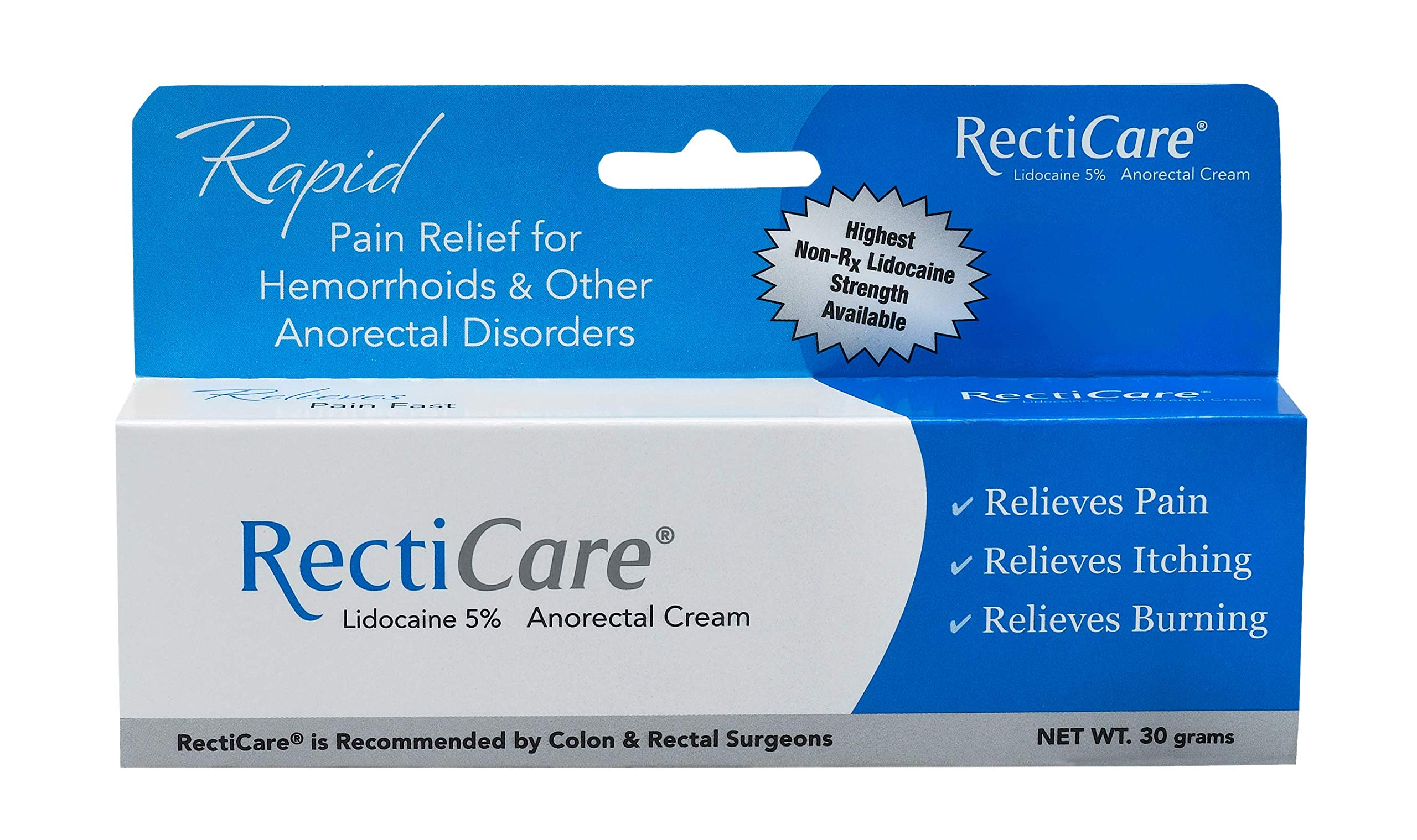 RectiCare Anorectal Lidocaine 5% Cream: Topical Numbing Cream for Treatment of Hemorrhoids & Other Anorectal Disorders - 30g Tube by Recticare