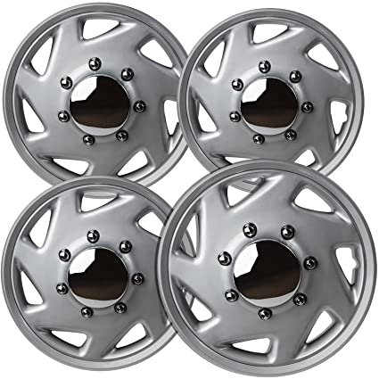OxGord 16 inch Hubcaps Best for - Ford E150 - (Set of 4) Wheel Covers 16in Hub Caps Silver Chrome Rim Cover - Car Accessories for 16 inch Wheels - Snap On ...
