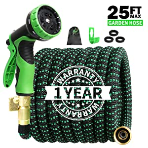 STAR FOREST Expandable Garden Hose 25ft,Flexible Hose with Double Latex Core, 3/4 Solid Brass Fittings, Extra Strength Fabric,Water Hose with 9 Functions Nozzle