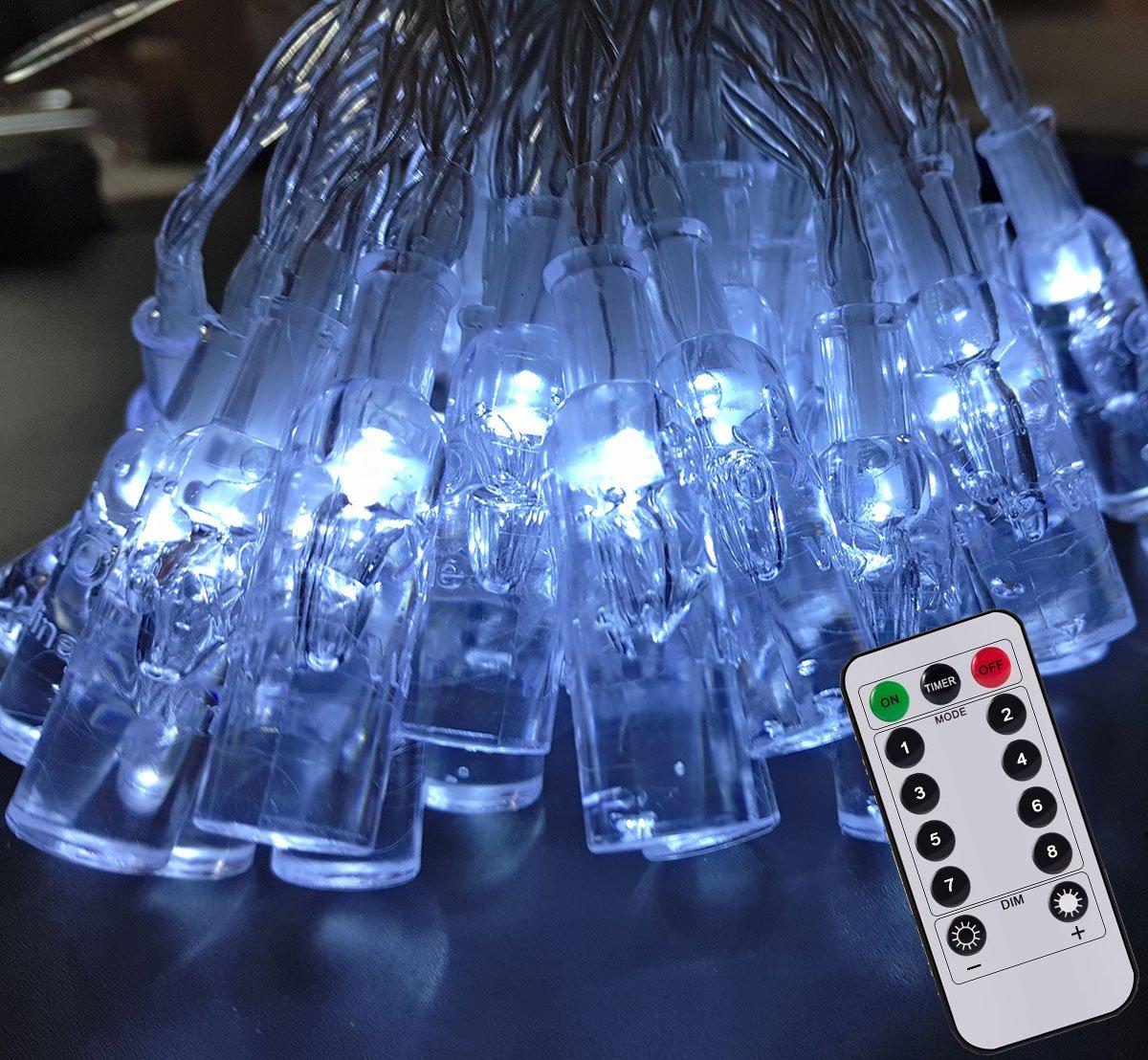 33FT/10M 80Led Impermeabile Bottiglia di vino Luce Strisce Luci della Stringa Chiara Alimentata a Batteria per Giardini Casa Matrimonio Festa di Natale Compleanno(Bianco) CORST