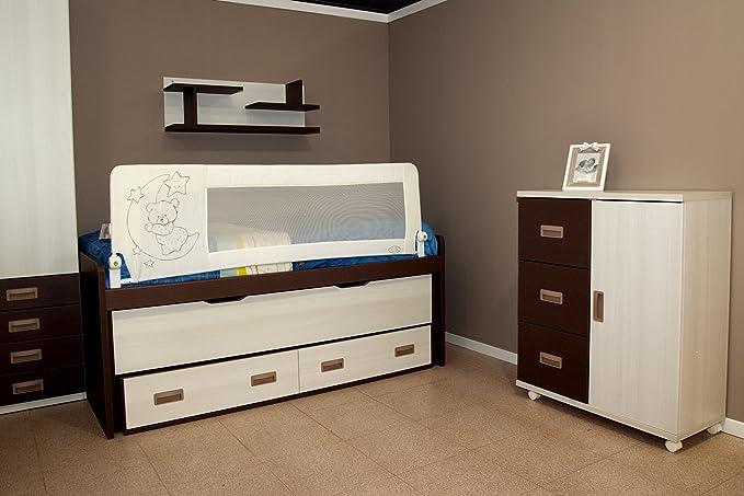 Barrera de cama nido para bebé, 180 x 66 cm. Modelo osito y luna beige. Barrera de seguridad. Sello de calidad SGS.
