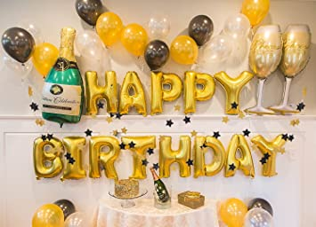 Gold Birthday Party Decorations Supplies Champagne Balloon Set Happy Banner