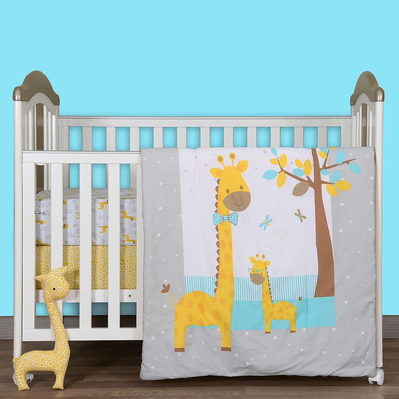 Cuddles & Cribs Nursery Bedding Crib in a Bag - 100% Organic Cotton Crib Sheets, 100% Polyester Reversible Comforter and Shaped Cushion - 4 Piece, Happy Giraffe