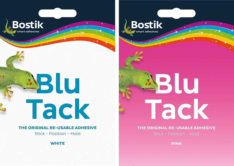 2 x Bostik Blu Tack Pink /& Blue Re-usable Mastic Adhesive Glue 1 pink 1 blue