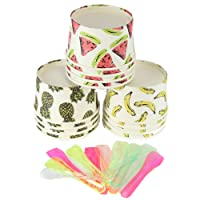 24x Summer Party Fruit Design Ice Cream Tubs w/ Spoons