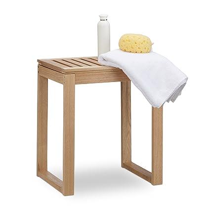 Amazon.com: Relaxdays Wooden Bath Rack, Walnut Seat for Children ...