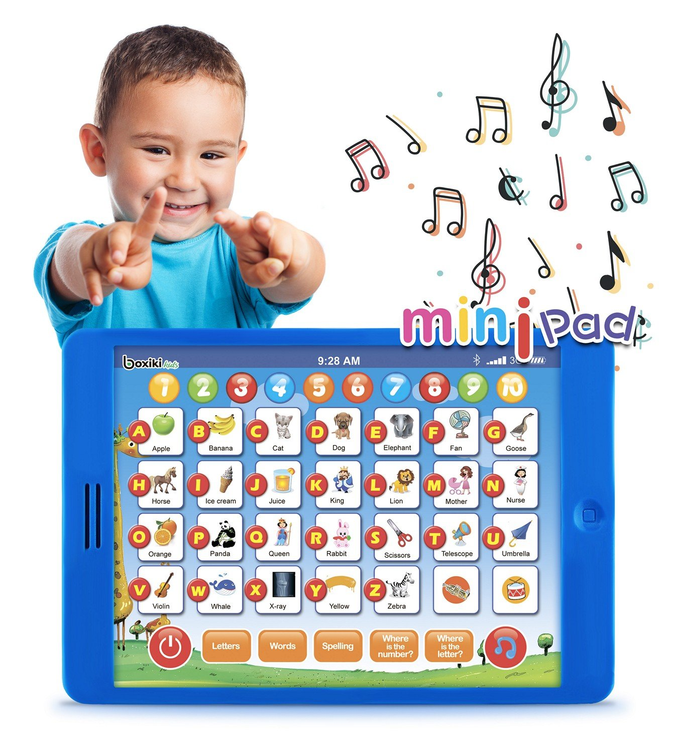 Boxiki kids Learning Pad Fun Kids Tablet with 6 Toddler Learning Games Early Child Development Toy for Number Learning, Learning ABCs, Spelling, ''Where is?'' Game, Melodies. Educational Toy by Boxiki kids