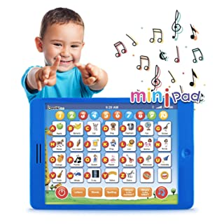 """Boxiki kids Learning Pad Fun Kids Tablet with 6 Toddler Learning Games Early Child Development Toy for Number Learning, Learning ABCs, Spelling, """"Where is?"""" Game, Melodies. Educational Toy"""