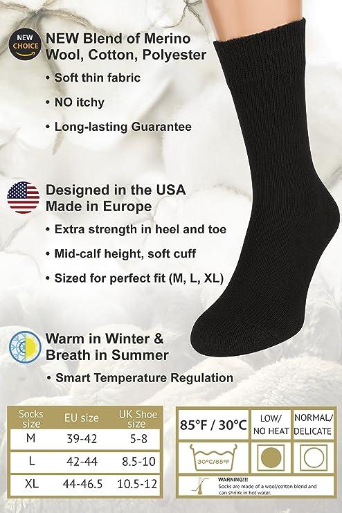 Calcetines Negros Mujer y Hombre, 2 Pares Calcetines Tobilleros Senderismo de Lana Merino Algodón Finos Térmicos por AIR SOCKS