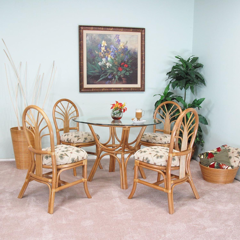 Premium Rattan Dining Furniture Sundance 5PC Set Regal Brand Jacquard Fabric Palm Tree Honey Finish