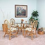 Premium Rattan Dining Furniture Sundance 5PC Set Regal Brand Jacquard Fabric Palm Tree (Honey Finish)