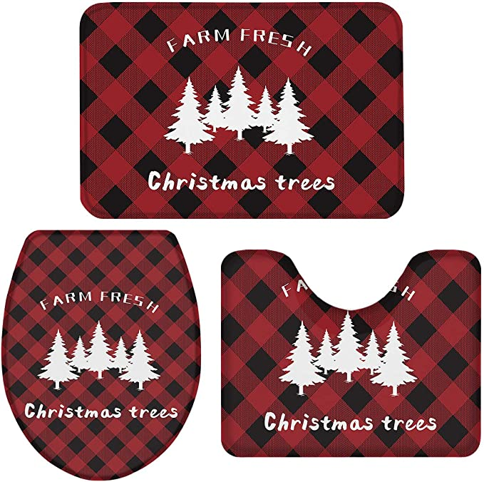 Farm Fresh Christmas Trees Black and Red Buffalo Check Bathroom Mats Set for Christmas Decorations Non Slip,Water Absorbent U-Shaped Contour Toilet Mat 3 Piece Bath Rug Sets Toilet Lid Cover