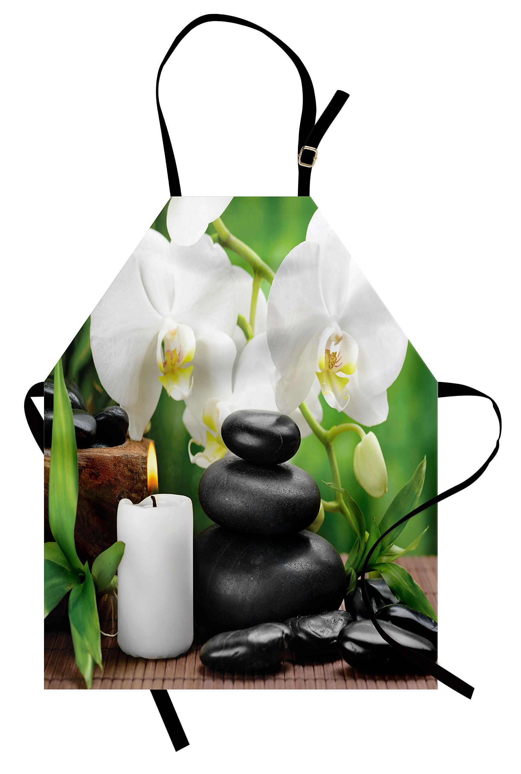 Ambesonne Spa Apron, Zen Hot Massage Stones with Orchid Candles and Magnificent Nature Remedies, Unisex Kitchen Bib Apron with Adjustable Neck for Cooking Baking Gardening, Black White and Green