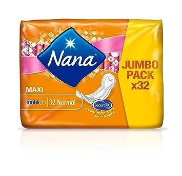 Nana Maxi normales - Toallas Sanitarias - 4 paquetes de 32 cada: Amazon.es: Belleza