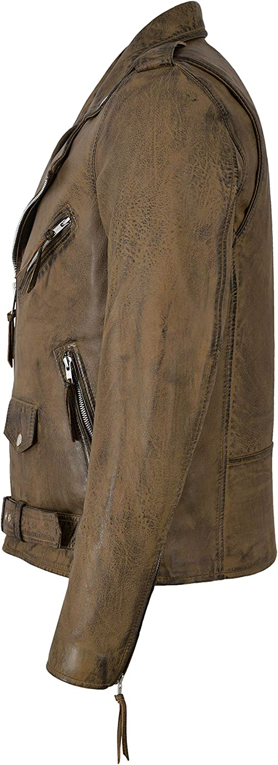 Mens Real Leather Jacket Dirty Brown Napa Casual Fashion Biker Style SR-MBF