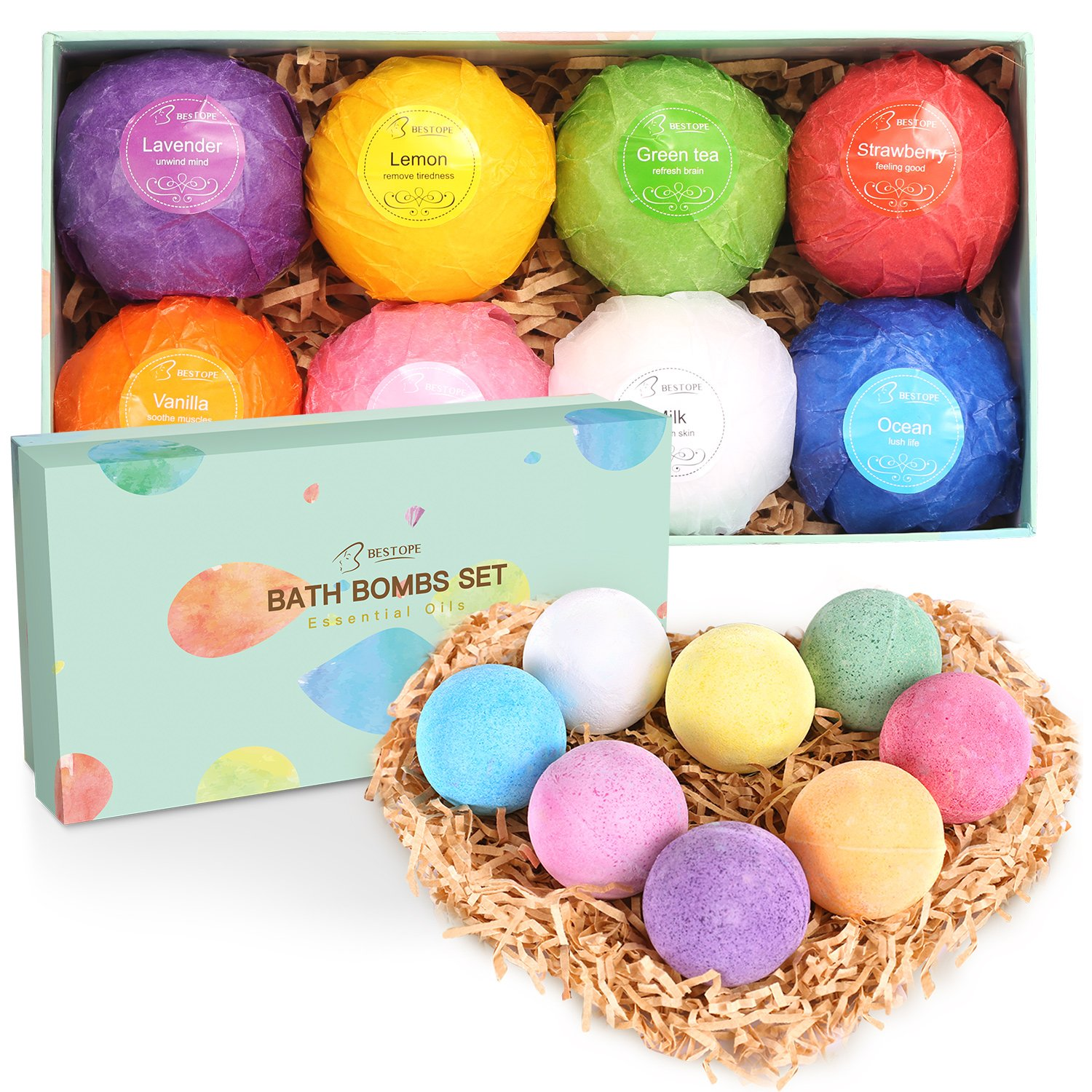 BESTOPE Bath Bombs Gift Set, 8 x 3.5 oz Vegan Natural Essential Oil & Lush Fizzy and Spa Bubble Bath Moisturizes Dry Skin, Luxury Gift for Women, Mom, Teen Girl, Valentines, Birthday (8PCS) BESTOPE CA