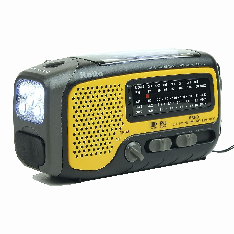 Kaito Ka350ylw Voyager Trek Solar Crank Am Fm Sw Noaa Active Antenna Weather Radio With 5 Led Flashlight Yellow Home Audio Theater