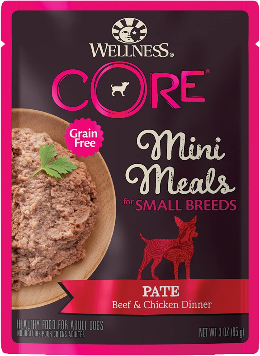 Wellness CORE Natural Grain Free Small Breed Mini Meals Wet Dog Food, 3 Ounce Pouch (Pack of 12)