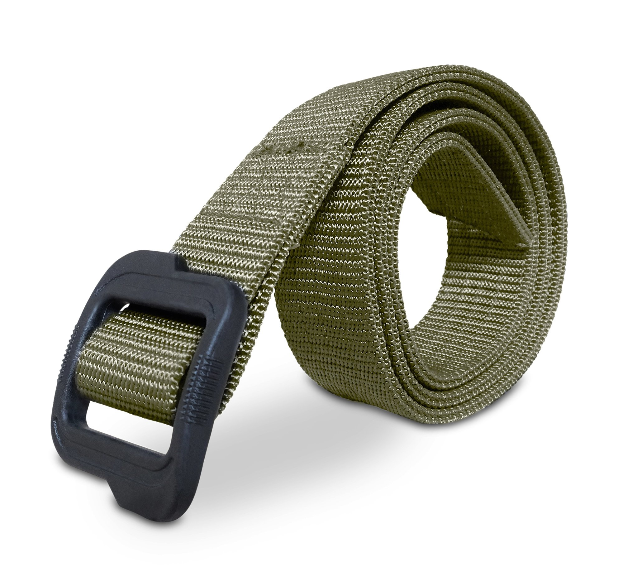 MISSION ELITE Heavy Duty EDC Tactical Belt - Two-Layer Reinforced Nylon with No Metal - Stiffened for Concealed Carry EDC Holsters Pouches Security Military Wilderness