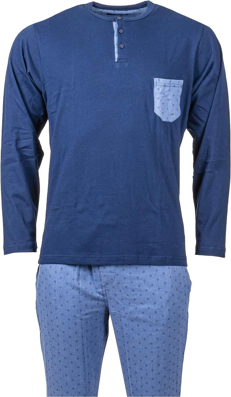 Guasch PZ461 - Pijama de hombre de algodón cálido color azul ...