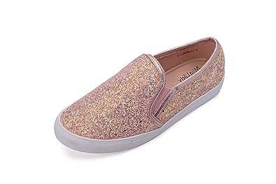 6886c4591c52 Mila Lady (Cornelia Comfortable Casual Sparkly Glitter Slip On Fashion  Sneakers for Women