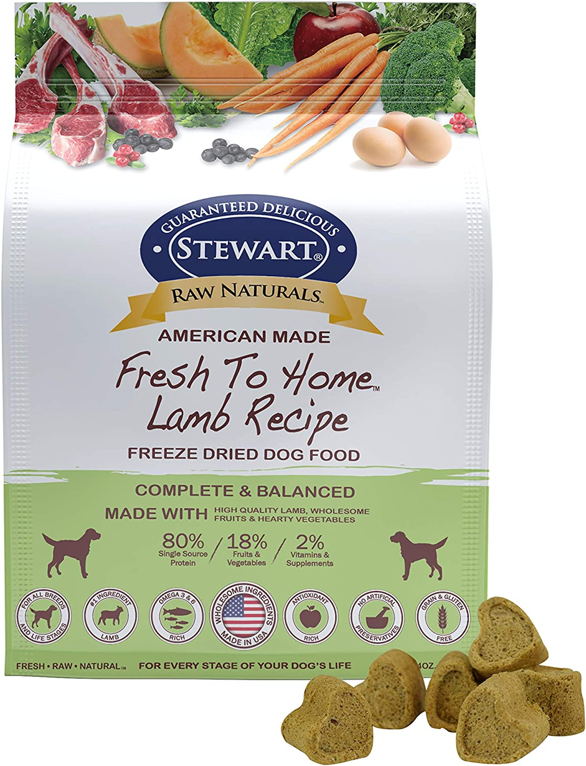Stewart Raw Naturals Freeze Dried Dog Food Grain Free Made in USA with Lamb, Fruits, & Vegetables for Fresh To Home All Natural Recipe, 24 oz.