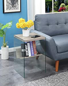 Convenience Concepts Soho End Table, Sandstone / Glass