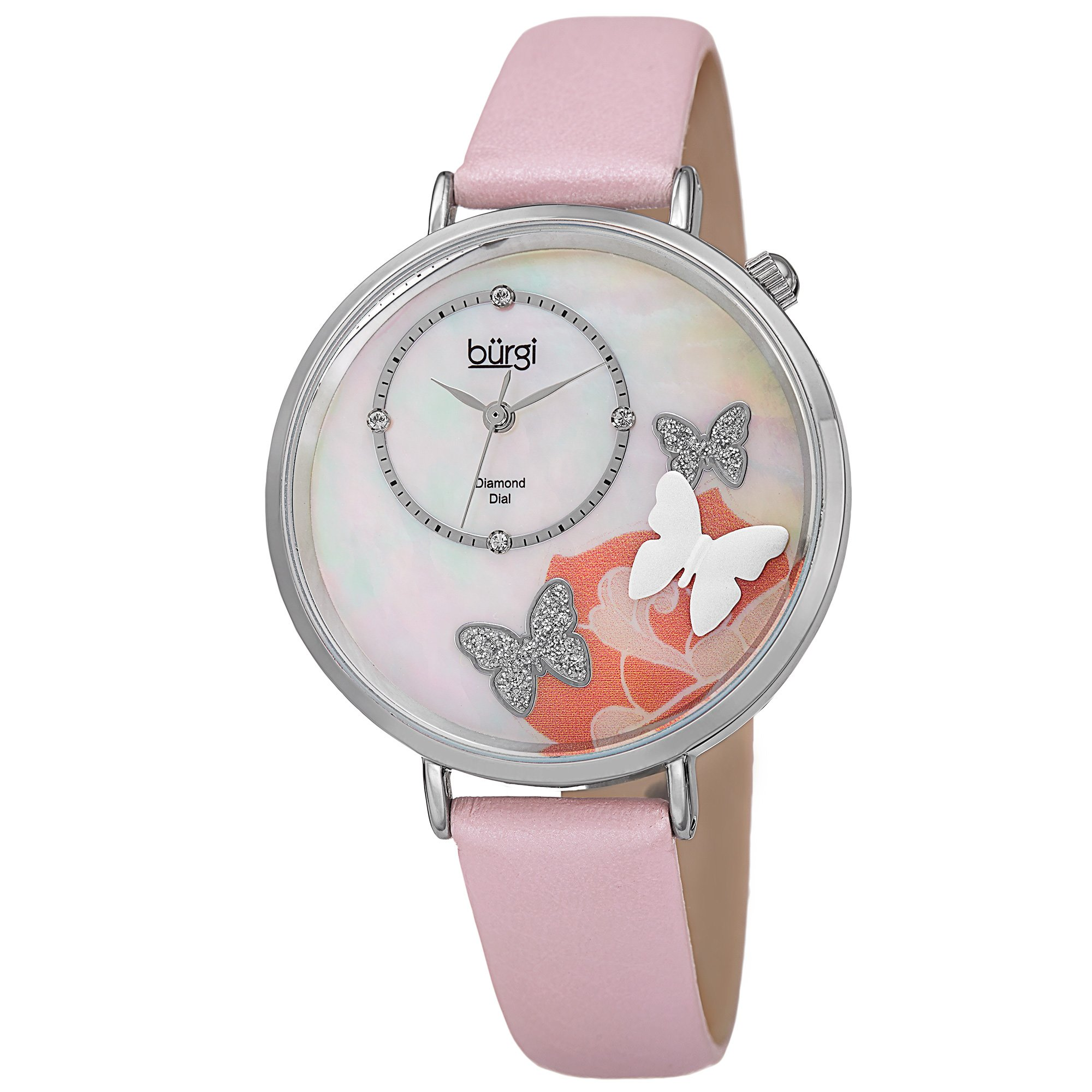Burgi Women's BUR186 Series Floral Print Watch with Rose Gold & Black Leather Strap - Packed in a Beautiful Gift Box (Butterfly Pink)