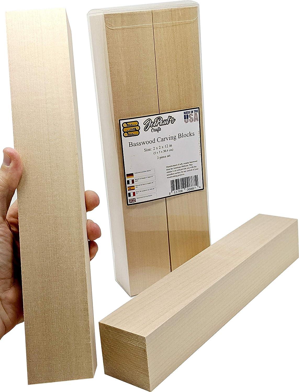 Basswood (tilo) - Bloques extragrandes para tallar - Bloques de madera para tallar de 5 cm x 5 cm x 30,5 cm (2 pulg. x 2 pulg. x 12 pulg.) 2 unidades: Amazon.es: Hogar