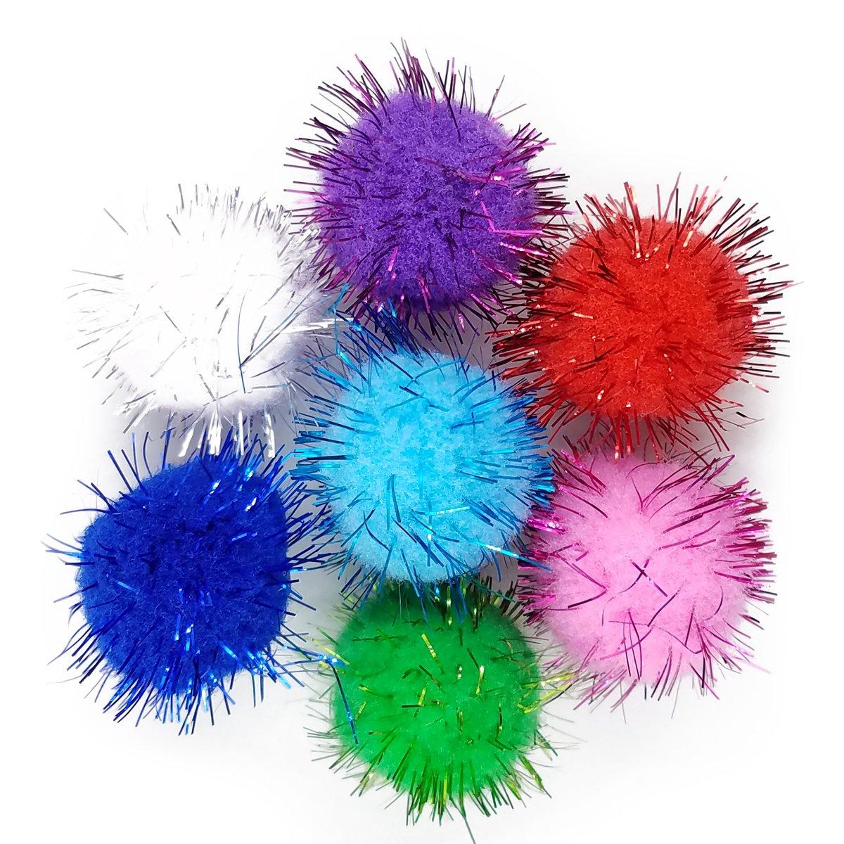 SamuRita Assorted Sparkle Glitter Pom Poms Balls for Arts Craft Kids DIY Accessories 1.3 Inch,30mm- 100 Pack
