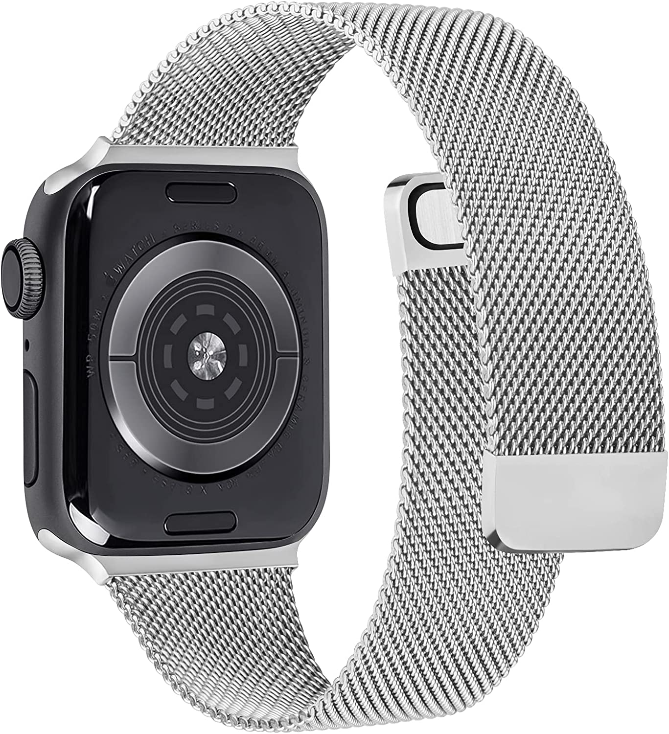 Wanme Bands Compatible with Apple Watch band 40mm 44mm 38mm 42mm , Magnetic Stainless Steel Mesh Adjustable Replacement Band for iWatch Series 6 5 4 3 2 1 SE for Women Men