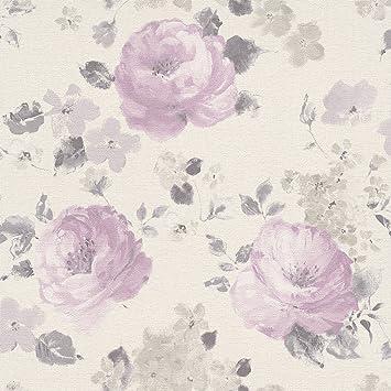 Rasch tapeten blumen grün  rasch Tapete Florentine 448832 Creme Rosa , Grün Blumen -: Amazon ...