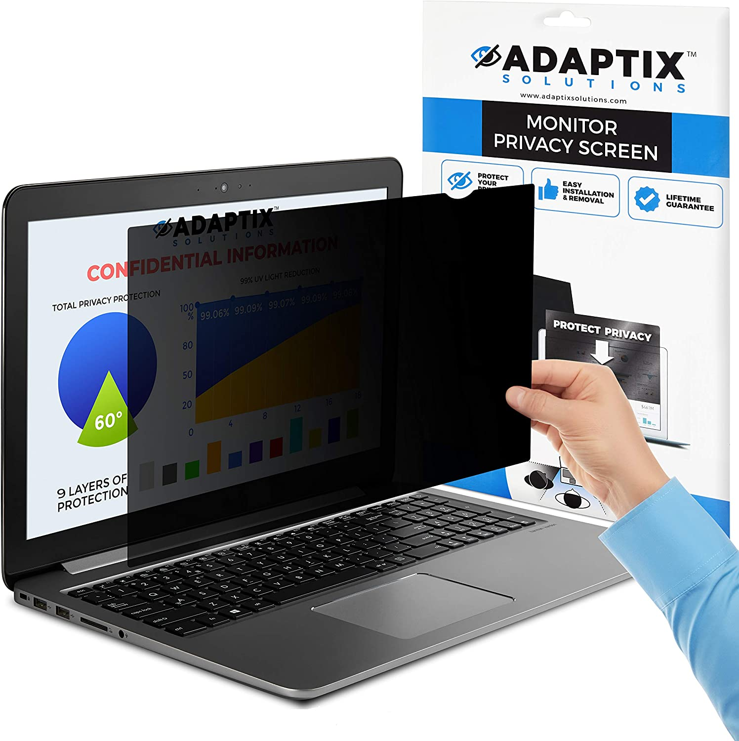 """Adaptix Laptop Privacy Screen 15"""" – Information Protection Privacy Filter for Laptop – Anti-Glare, Anti-Scratch, Blocks 96% UV – Matte or Gloss Finish Privacy Screen Protector – 4:3 (APF15.0)"""