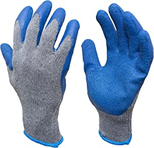 G & F 3100S-10 Rubber Latex Coated Work Gloves for Construction, Blue, Crinkle Pattern, Men's Small (120 Pairs)