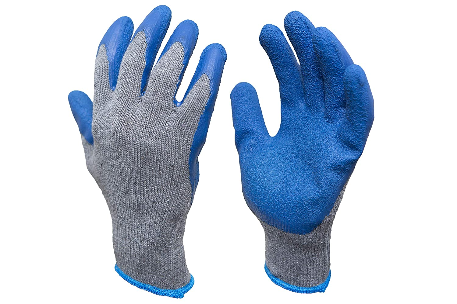 G & F 3100L-DZ Knit Work Gloves,Textured Rubber Latex Coated for Construction, 12-Pairs, Men's Large