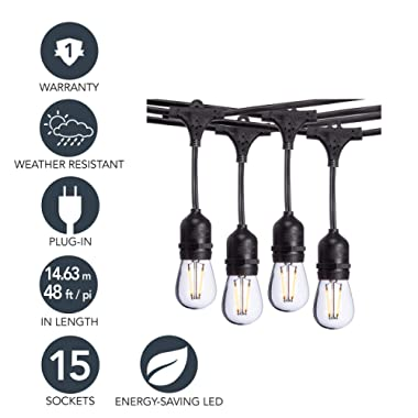 Sterno Home 48-Ft Vintage-Style Waterproof Outdoor LED String Lights – Hanging Edison Bulbs on Black Rubberized Cord – For Backyard, Weddings, Patio, Porch, and more.