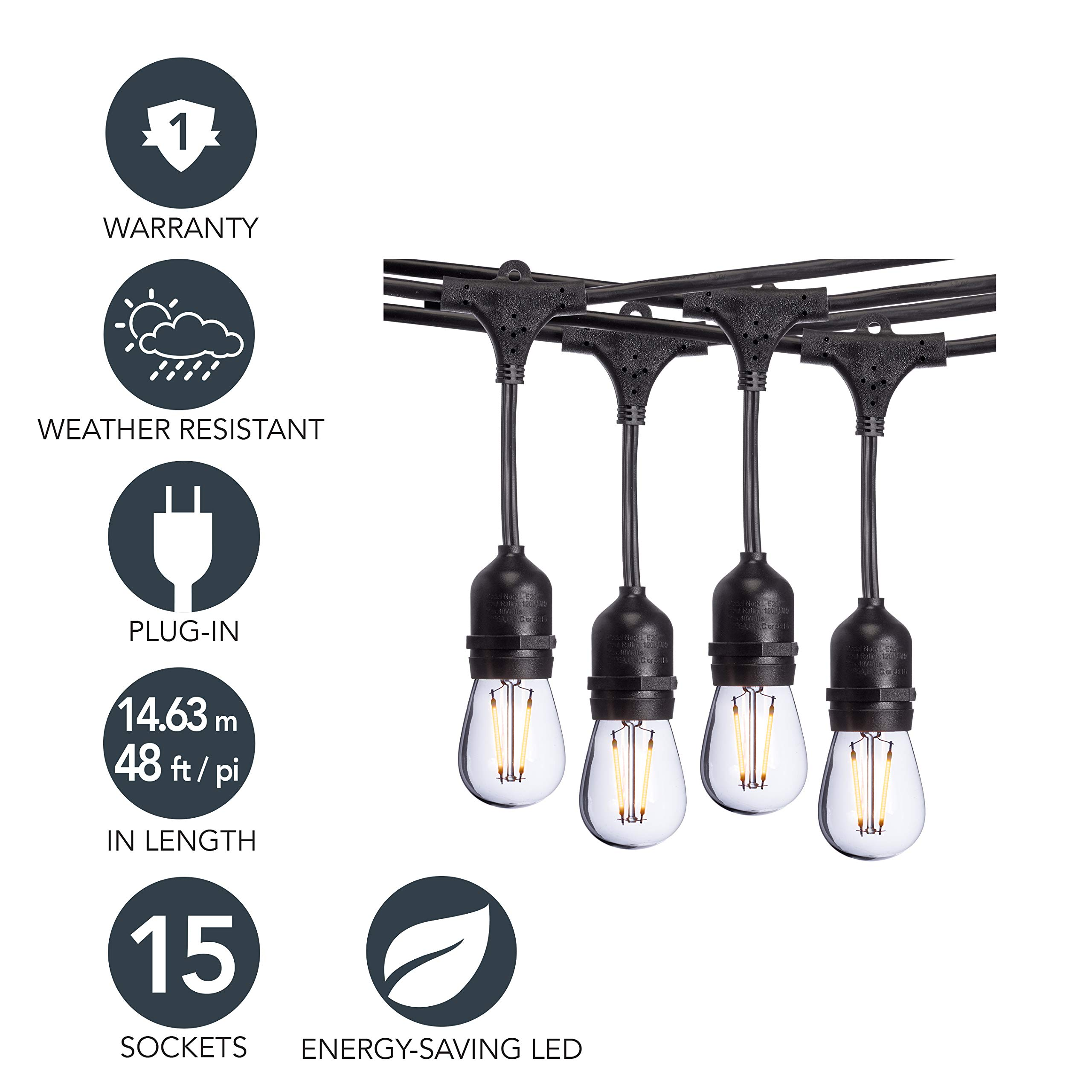 Sterno Home 48-Ft Vintage-Style Waterproof Outdoor LED String Lights - Hanging Edison Bulbs on Black Rubberized Cord - For Backyard, Weddings, Patio, Porch, and more.