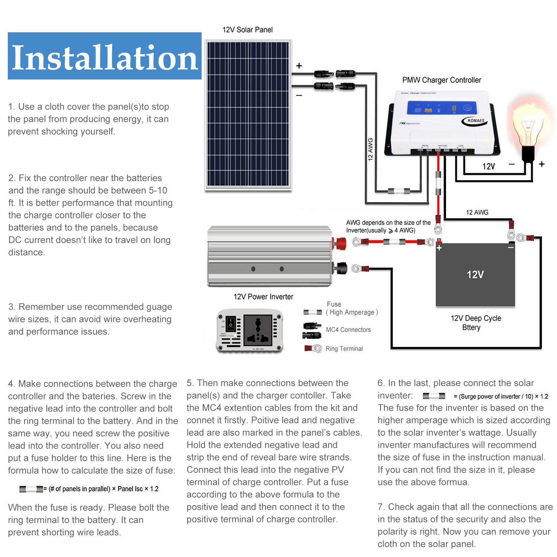 12v Solar Panel Wiring Size Electrical Diagrams Household Circuits Ausgrid Amazon Com Komaes 100 Watts 12volts Polycrystalline 1 Watt