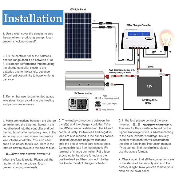 Astounding Amazon Com Komaes 100 Watts 12Volts Polycrystalline Solar Panel Wiring Digital Resources Funapmognl