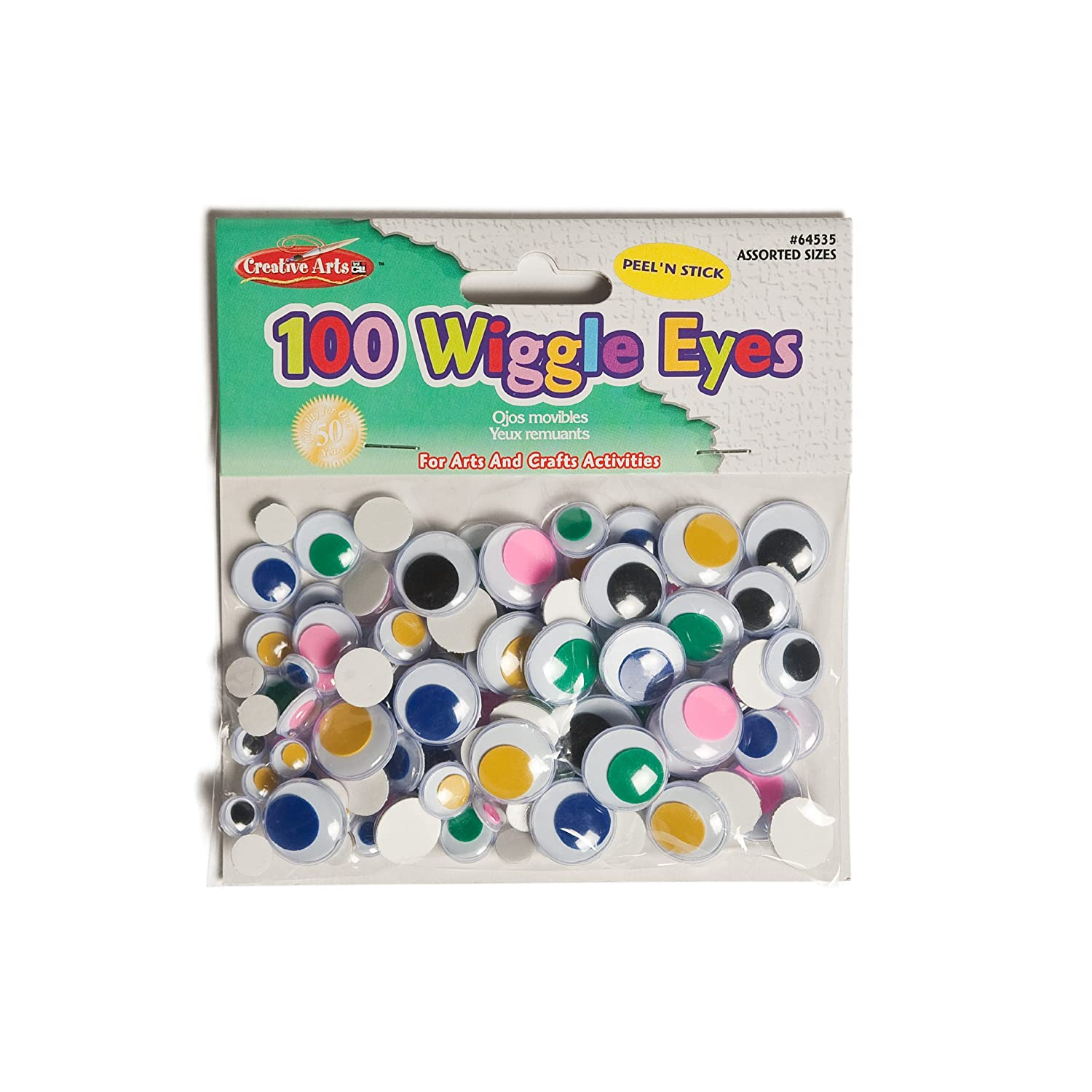 Creative Arts by Creative Arts by Charles Leonard Wiggle Eyes, Peel'n Stick, Black, Assorted Sizes, 100/Bag (64530) Peel'n Stick Charles Leonard Inc. NAS-B004G59EDE